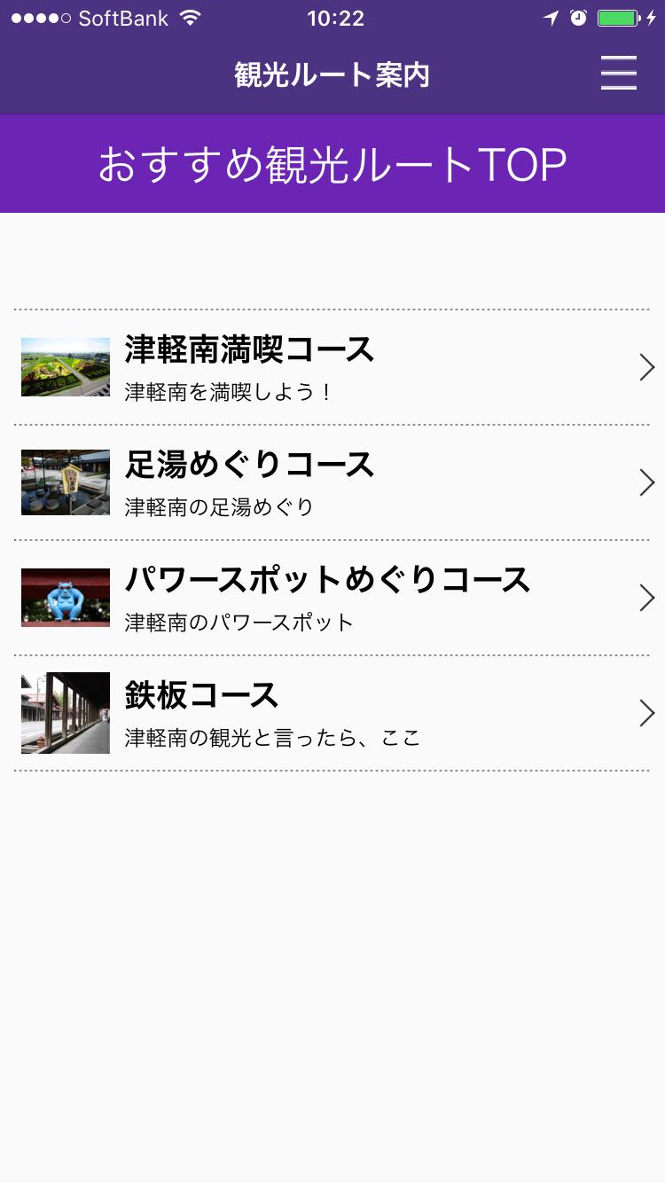 お勧め観光ルートTOP画面